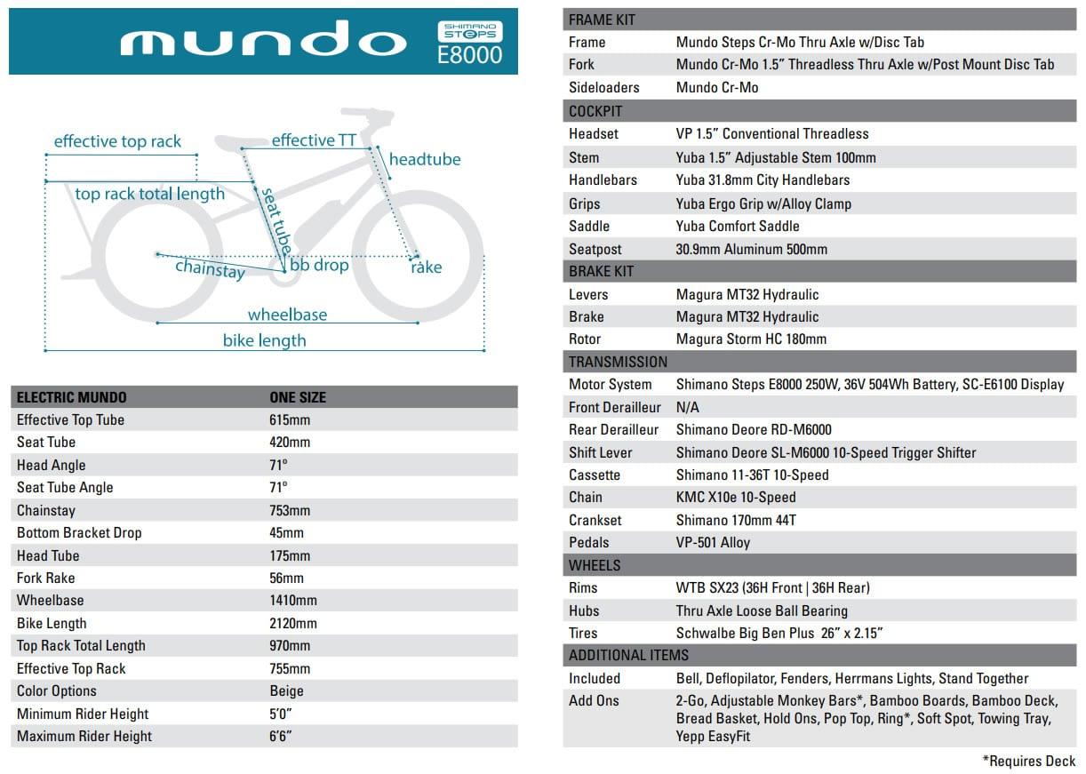 "2020 Yuba Mundo Electric 26"" 10-v + Shimano Steps E8000 70Nm/250W/504Wh"
